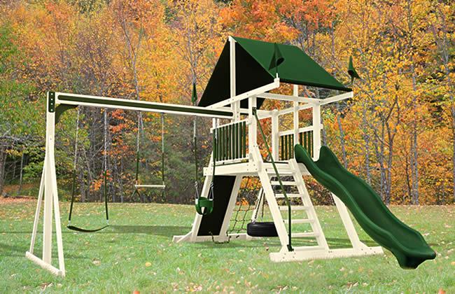 Large selection of vinyl swingsets for backyard play for Mini swing set
