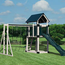 Vinly clad swing sets and wooden play stations