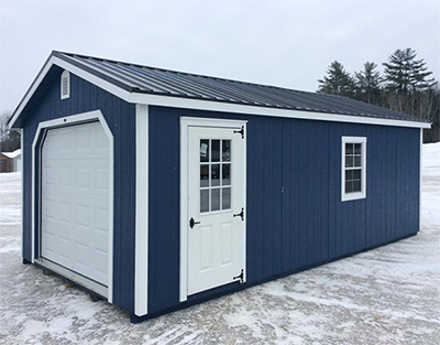 Classic blue garage with optional metal roof