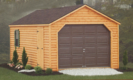 Log sided garages