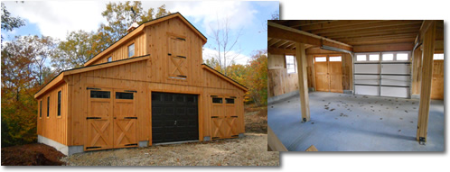 Pine sided garage