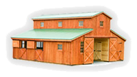 Horse barn with lean to roof modular barn