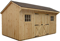 Pine sided storage building