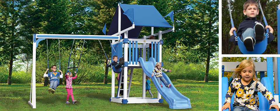 Swingsets and playsets for backyard fun for children for Mini swing set