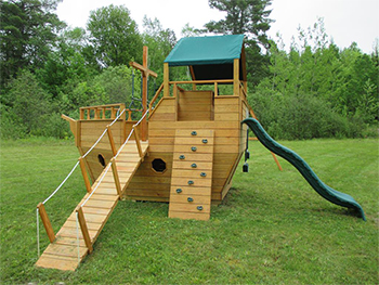 Wooden Ship Swing Playset